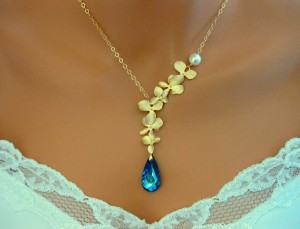 Bermuda Blue Orchid Necklace Gold